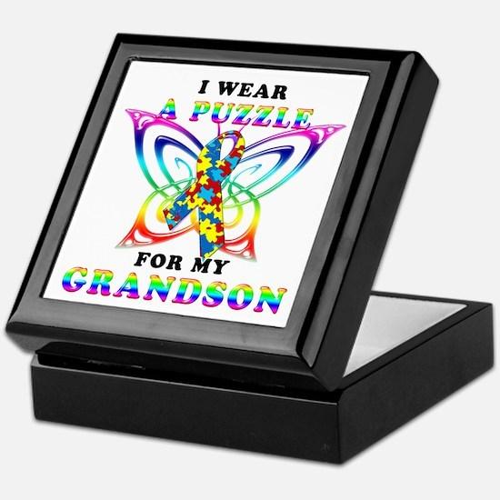 I Wear A Puzzle for my Grandson Keepsake Box