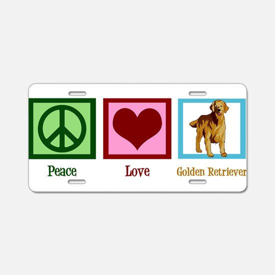 Cute Golden Retriever Aluminum License Plate