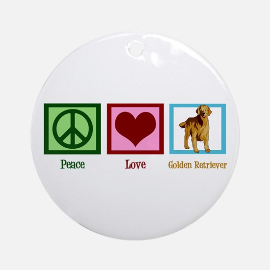 Cute Golden Retriever Ornament (Round)