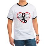 Heart Ribbon Melanoma Ringer T