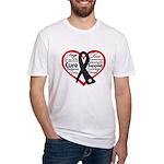 Heart Ribbon Melanoma Fitted T-Shirt