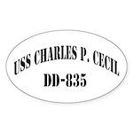 USS CHARLES P. CECIL Sticker (Oval)