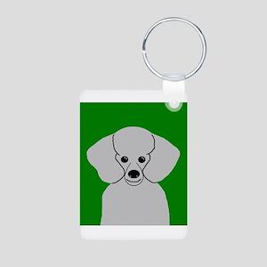 Poodle (Grey) Aluminum Photo Keychain