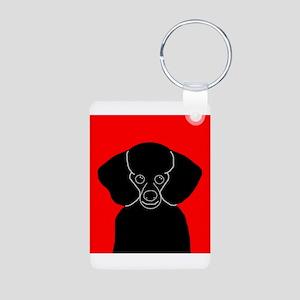 Poodle (Black) Aluminum Photo Keychain