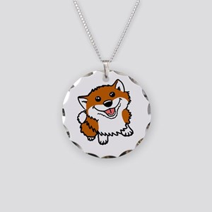 Happy Little Shiba Necklace Circle Charm