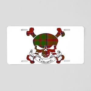 Grant Tartan Skull Aluminum License Plate