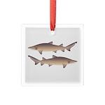 Sand Tiger Shark Square Glass Ornament
