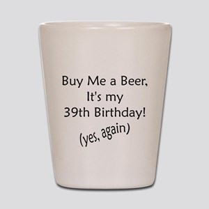 39th Birthday Shot Glass