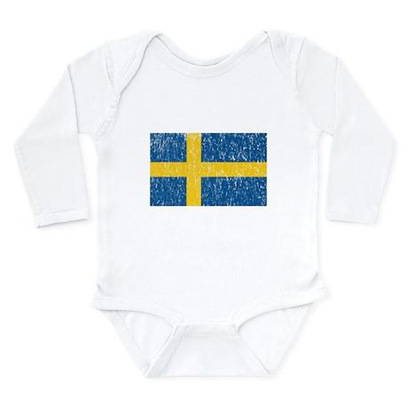 Vintage Sweden Flag Long Sleeve Infant Bodysuit