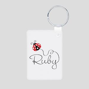 Ladybug Ruby Aluminum Photo Keychain
