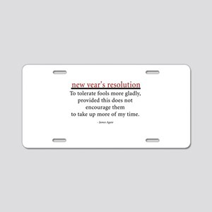 New Year's Resolution Aluminum License Plate