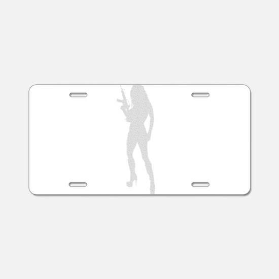 Sexy Gun Girl Aluminum License Plate