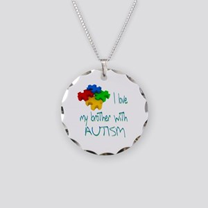 I love my brother with autism Necklace Circle Char