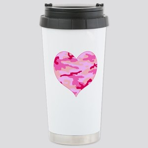 Pink Camo Heart Stainless Steel Travel Mug
