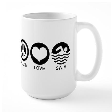 Peace Love Swim Large Mug