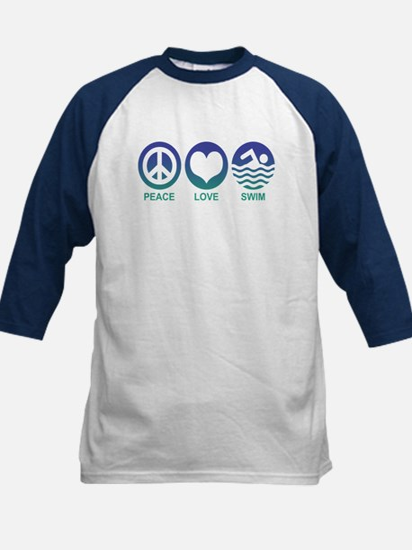 Peace Love Swim Kids Baseball Jersey
