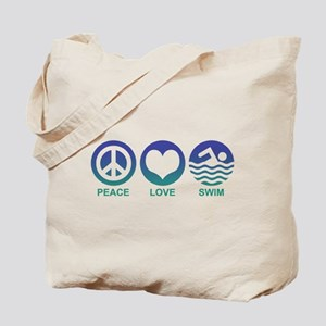 Peace Love Swim Tote Bag