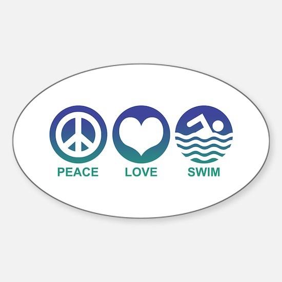 Peace Love Swim Sticker (Oval)