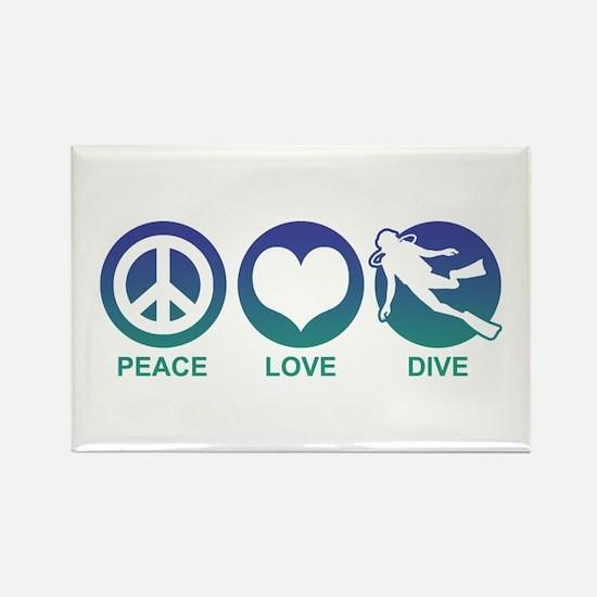 Peace Love Dive Rectangle Magnet