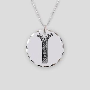 Zipper Necklace Circle Charm