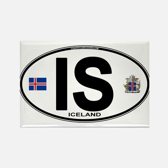 Iceland Euro Oval Rectangle Magnet