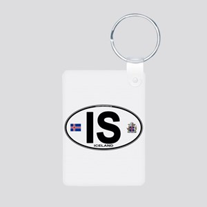 Iceland Euro Oval Aluminum Photo Keychain