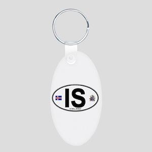 Iceland Euro Oval Aluminum Oval Keychain