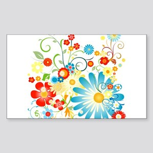 Floral explosion of color Sticker (Rectangle)
