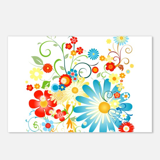 Floral explosion of color Postcards (Package of 8)