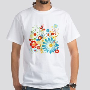 Floral explosion of color White T-Shirt