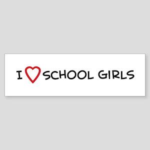 I Love School Girls Bumper Sticker