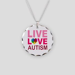 Live Love Autism Necklace Circle Charm
