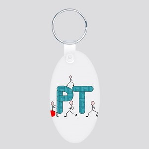 Physical Therapy Aluminum Oval Keychain