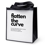 flatten the curve text only Reusable Grocery Tote