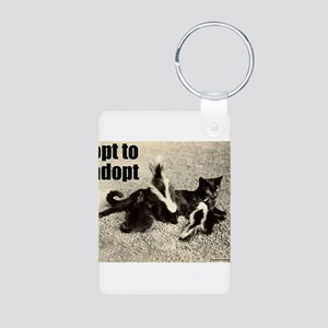 Opt To Adopt Cat Aluminum Photo Keychain
