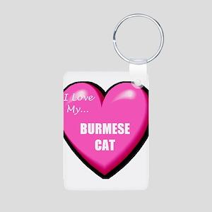 I Love My Burmese Cat Aluminum Photo Keychain