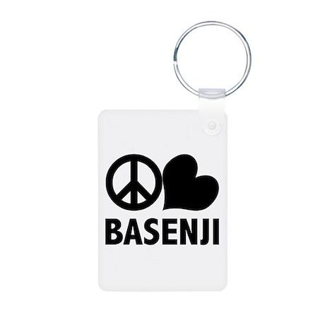 Peace Love Basenji Aluminum Photo Keychain