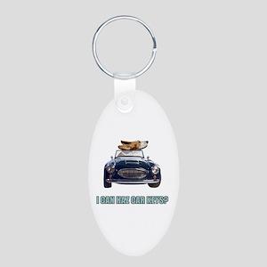 LOL Basset Hound Aluminum Oval Keychain