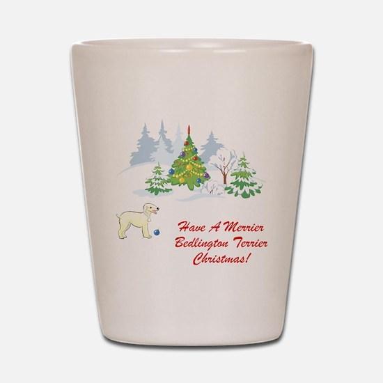 Bedlington Terrier Christmas Shot Glass
