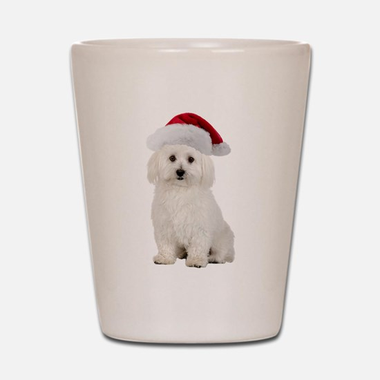 Bichon Frise Santa Shot Glass