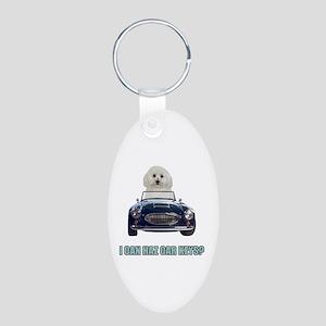 LOL Bichon Frise Aluminum Oval Keychain