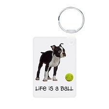 Boston Terrier Life Aluminum Photo Keychain