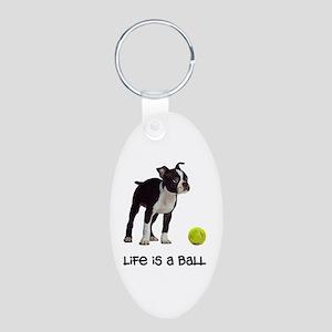 Boston Terrier Life Aluminum Oval Keychain