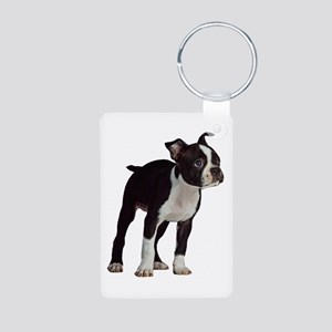 Boston Terrier Aluminum Photo Keychain