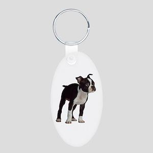 Boston Terrier Aluminum Oval Keychain