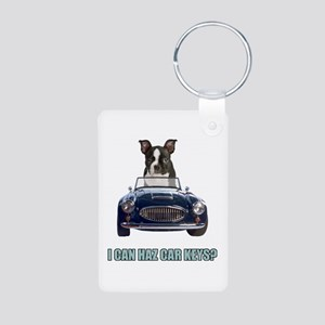 LOL Boston Terrier Aluminum Photo Keychain