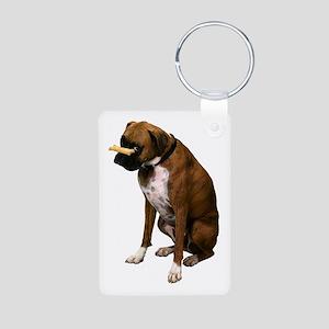 Brindle Boxer Photo Aluminum Photo Keychain