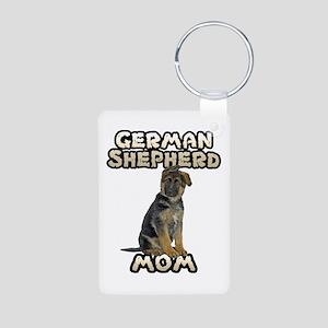 German Shepherd Mom Aluminum Photo Keychain
