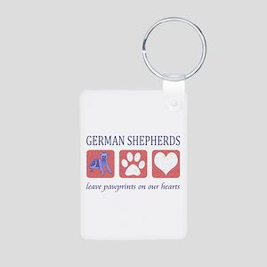 German Shepherd Pawprints Aluminum Photo Keychain