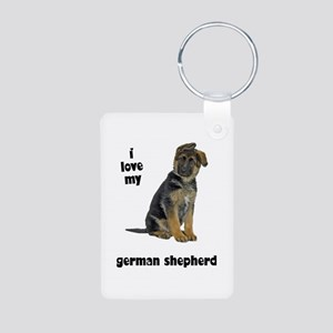 German Shepherd Love Aluminum Photo Keychain